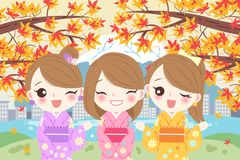 Women smile happily with maple stock illustration