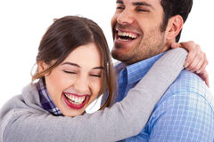 Women smiling on his boyfriend shoulders Royalty Free Stock Photos