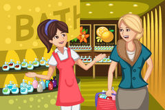 Women in a soap store Stock Photo