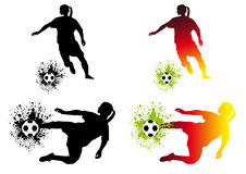 Women soccer. Soccer abstract background with dribbling player Royalty Free Stock Images