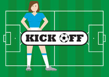 Women with soccer field kick off concept Stock Photo