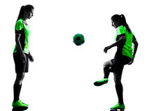 Women soccer players isolated silhouette Royalty Free Stock Images