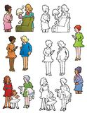 Women Socializing. A variety of women in different social settings. Full color and black outline versions Royalty Free Stock Image