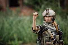 Women soldiers royalty free stock photo