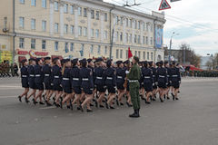 Women soldiers in uniform are at rehearsal of Military Parade Stock Photos