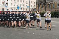 Women soldiers in uniform are at rehearsal of Military Parade Stock Image