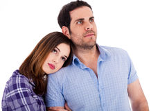 Women soothing herself on her boyfriend shoulders. On a isolated white background Stock Photography