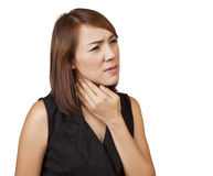 Women sore throat. Asian woman sore throat on a white background stock photography