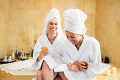 Women in spa center Stock Photography