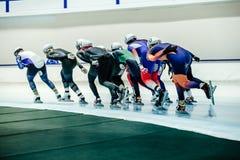Women speed skaters mass start Stock Images