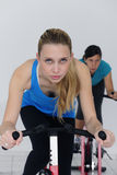 Women spinning at the gym Royalty Free Stock Photography
