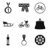 Women sport icons set, simple style. Women sport icons set. Simple set of 9 women sport vector icons for web isolated on white background Royalty Free Stock Images