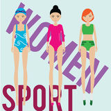 Women sport team. Swimmer, runner, gymnast. In sport outfit Royalty Free Stock Images