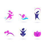 Women, sport and wellness icons - pink and blue. Set of girl in motion and beauty icons. Vector Stock Photos