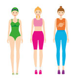 Women in sportswear. Female in fitness clothes. Smiling girls in gym sport outfit. Vector illustration Royalty Free Stock Image