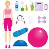 Women in sportswear kit. Female in fitness clothes. Smiling girl and sport icons. Fitball, dumbbells, jump rope and other gym hall. Equipment. Vector Royalty Free Stock Photo