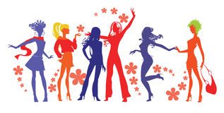 Women spring. Vector image the silhouette of the women Stock Images
