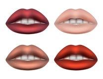 Women& x27; spugna molle grassottella delle labbra sexy di s per le donne dei colori differenti con i denti bianchi illustrazione di stock