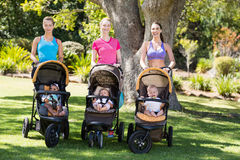 Women standing with the baby stroller Stock Images