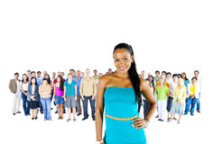 Women Standing infront of Diversity Crowd Concept Royalty Free Stock Photos