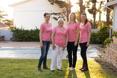 Women standing up to breast cancer Royalty Free Stock Image