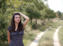 Women Staring At the Horizon. On the sunny summer day Stock Image