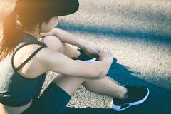 Women stops resting after running. Young woman stops resting after running Royalty Free Stock Image