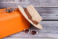 Women straw hat and sunglasses. stock photos