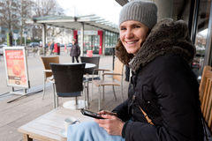 Women in street cafe Germany Stock Photography