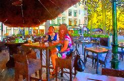 Women in street cafe. Watercolor style Royalty Free Stock Image