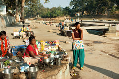 Women on the street of a village peddling betel Royalty Free Stock Photo