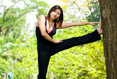 Women stretching Stock Images