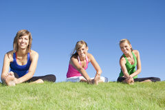 Women stretching before exercise Royalty Free Stock Image