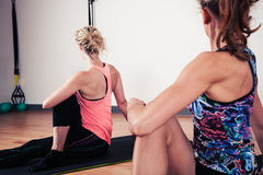 Women stretching their backs in gym Royalty Free Stock Image