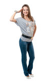 Women in striped vest and jeans Royalty Free Stock Image