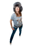 Women in striped vest and jeans Royalty Free Stock Images