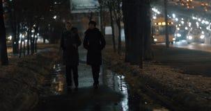 Women strolling in evening winter city. Sidewalk in dark winter city and two women friends walking and having a talk stock video footage