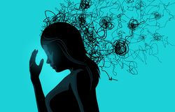 A Women Struggling With Stress vector illustration