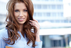 Women or student on the property business background Stock Photography
