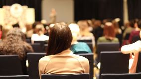 Women student during study, in lecture Audience stock footage