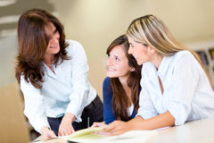 Women studying at the library Stock Image