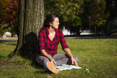 Women studying outdoor Stock Image