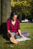 Women studying outdoor Royalty Free Stock Image