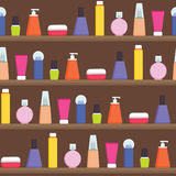 Women stuff creams, perfumes, skin care products on the shelf - vector seamless flat style pattern illustration Royalty Free Stock Photo