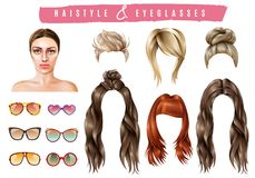 Women Style Constructor Set. Women hairstyle eyeglasses collection with isolated realistic images of female hair and sunglasses of different shape vector Stock Photography