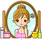 Women suffer from wrinkles. This is an illustration of a Women suffering from wrinkles Stock Photo