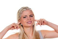 Women suffering from noise Stock Photo