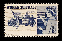 Women Suffrage Postal Stamp. Women Suffrage,the right to vote postal stamp was issued in 1970. The stamp dispicts suffragettes,1920,and women voters Stock Photos