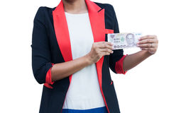Women in suit hand hold thai money Stock Images