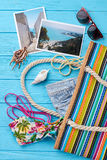 Women summer bag, beach items. Stock Image